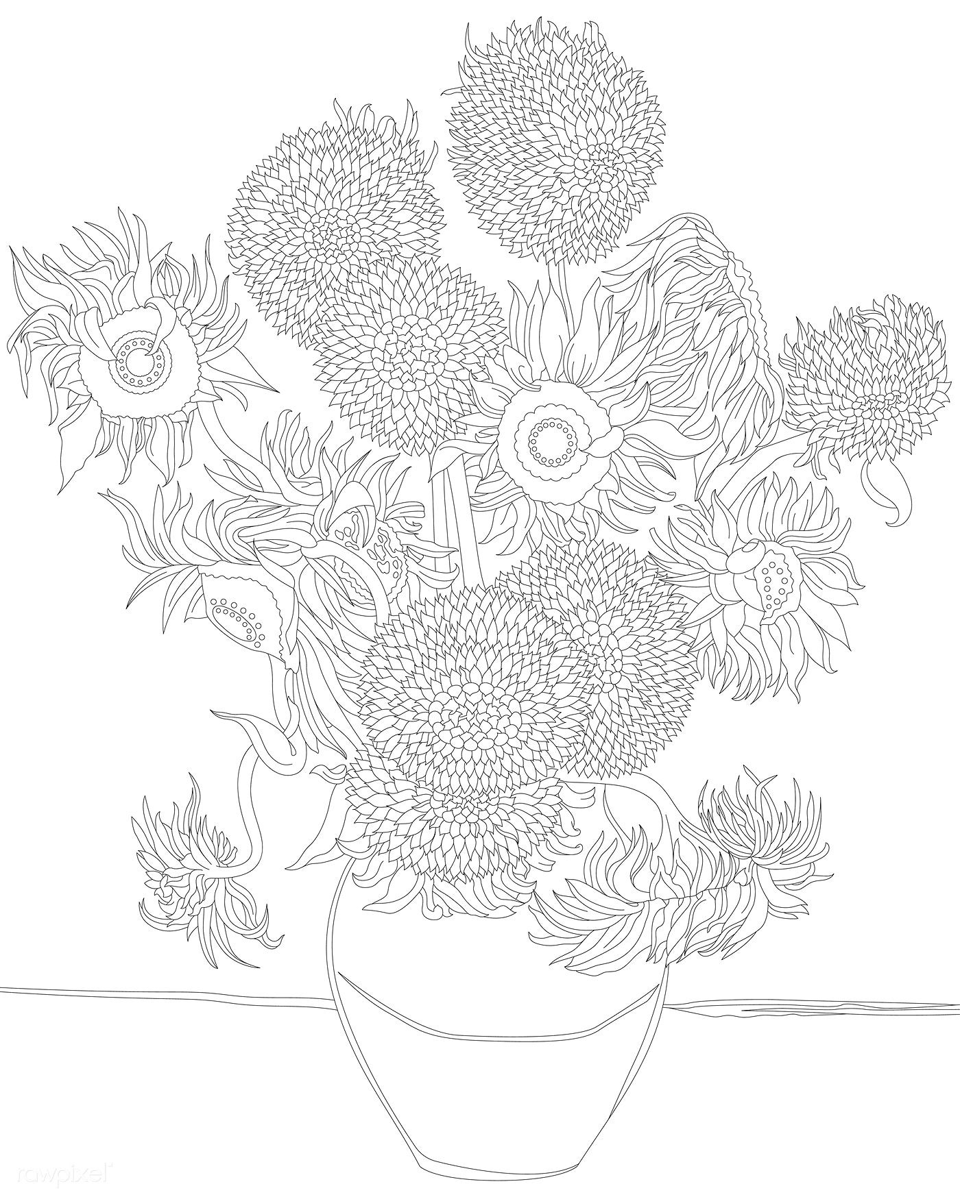 van gogh sunflowers coloring page sunflowers 1889 by vincent van gogh adult coloring page coloring page gogh sunflowers van
