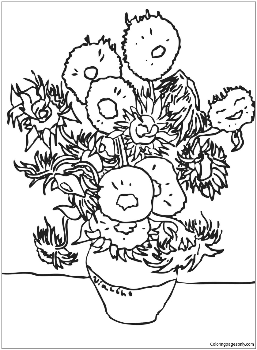 van gogh sunflowers coloring page sunflowers by vincent van gogh coloring page free gogh sunflowers van coloring page