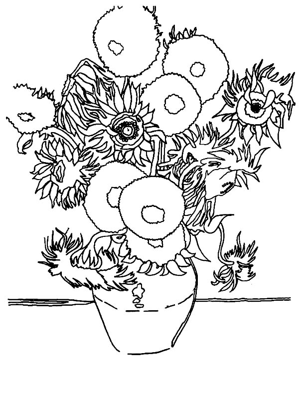 van gogh sunflowers coloring page welcome to dover publications artanddrawing welcome to coloring page gogh van sunflowers