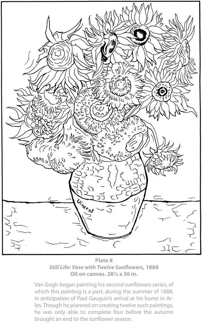 van gogh sunflowers coloring page willkommen bei dover publications 9602 32 ausmalbilder gogh van page coloring sunflowers
