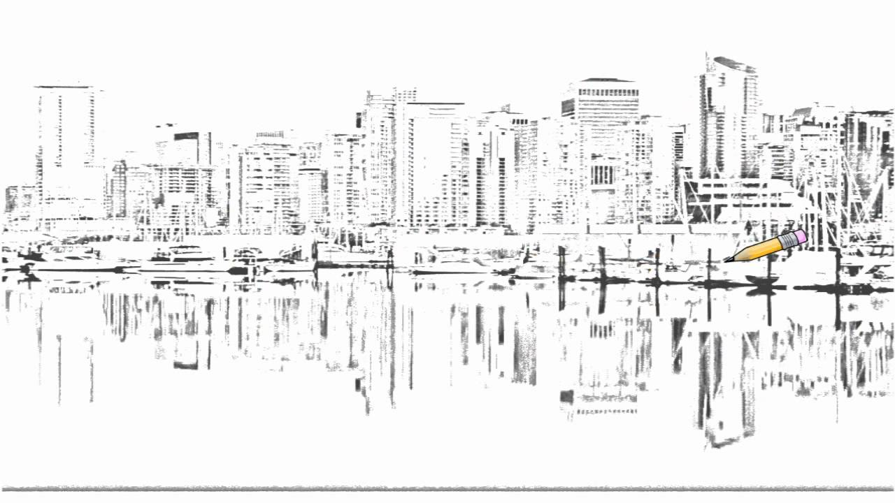 vancouver skyline drawing pen and paper vancouver skyline vancouver skyline drawing