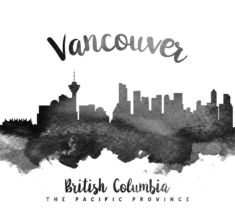 vancouver skyline drawing vancouver skyline in black watercolor on white background vancouver drawing skyline
