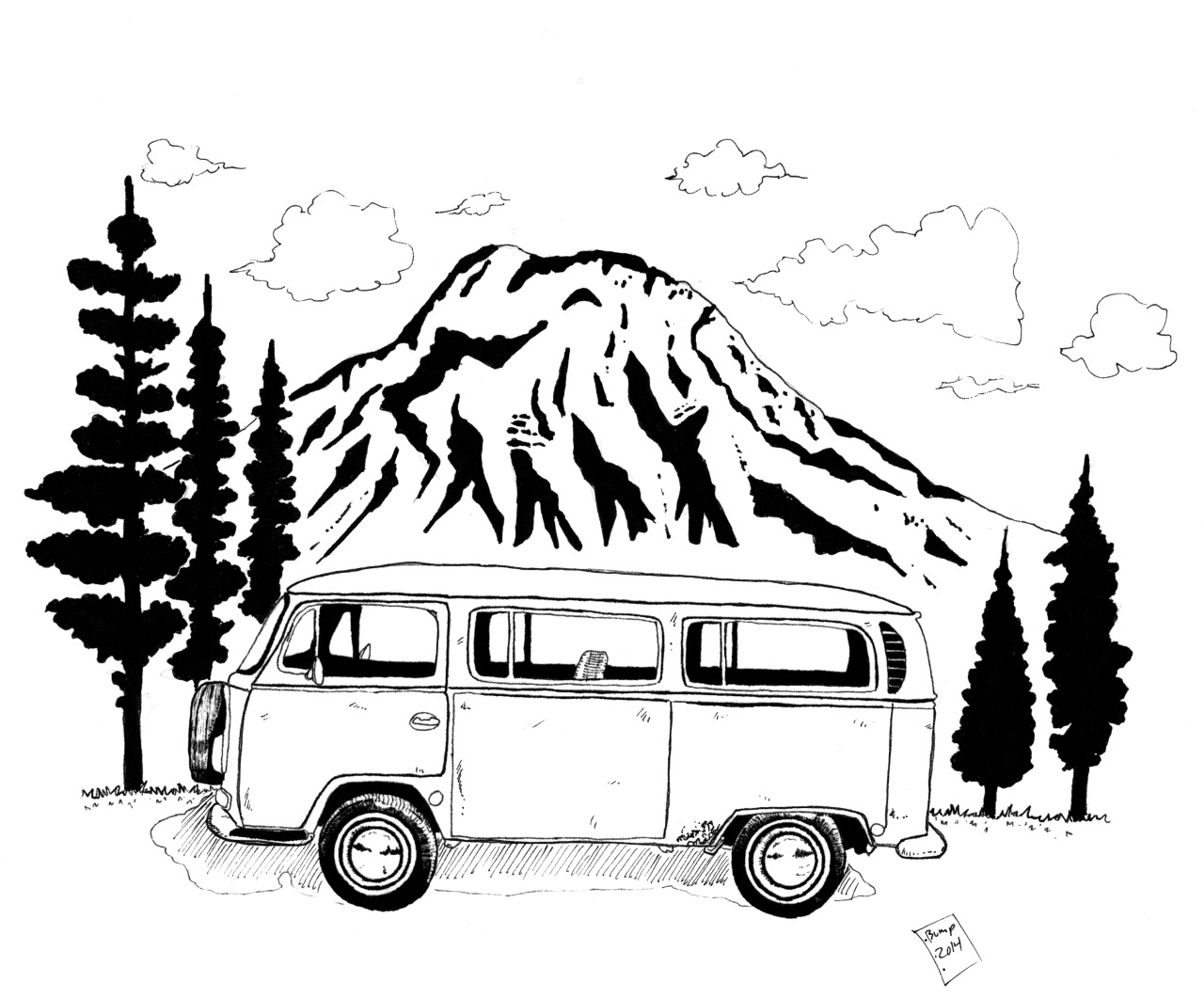 vw bus sketch cool hot rod art from 2009 myrideismecom sketch bus vw