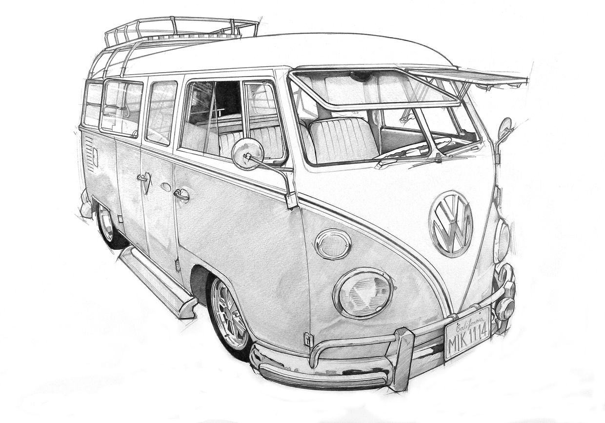vw bus sketch vw bus drawing by lauren kirby sketch vw bus