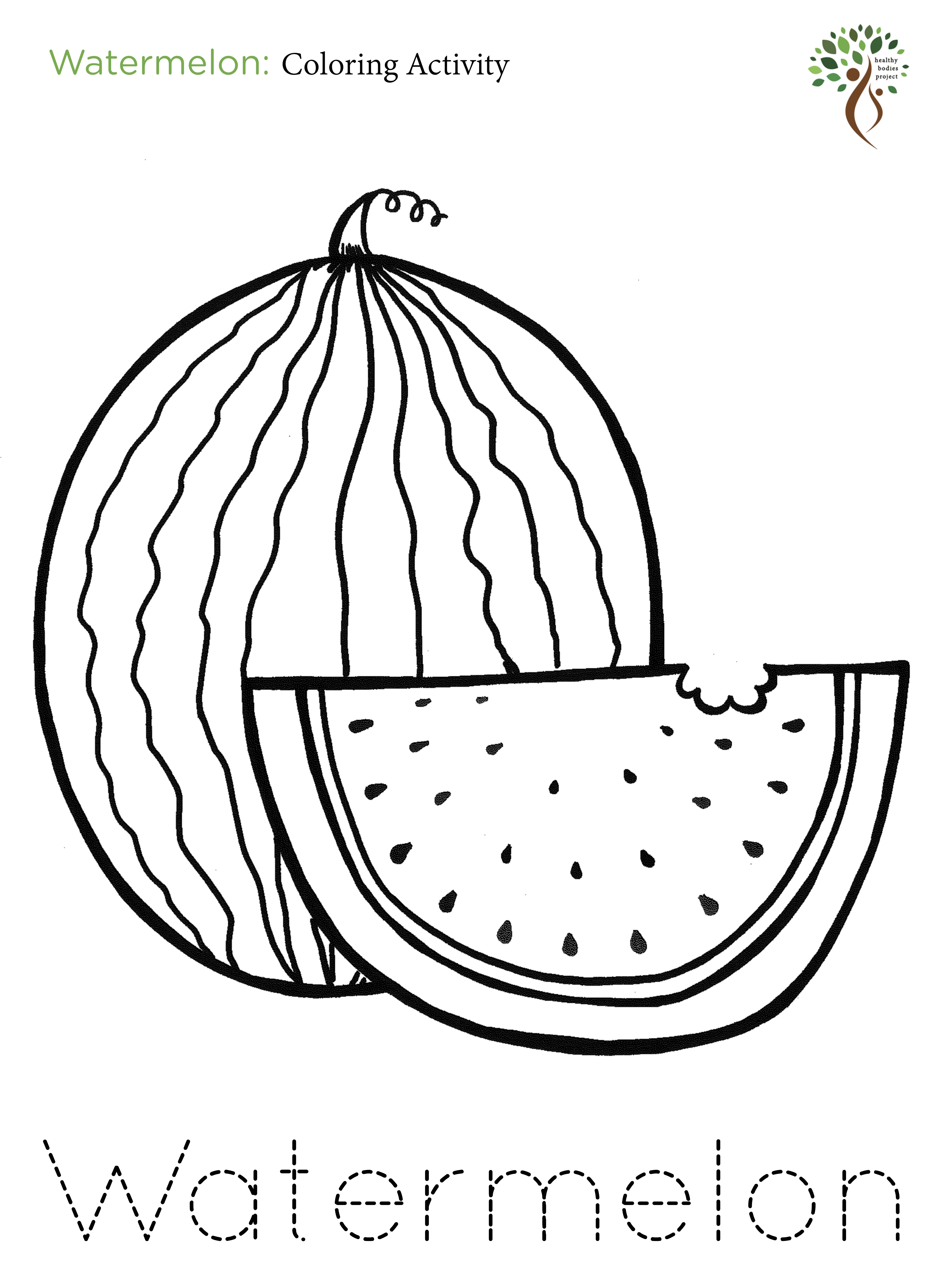 watermelon coloring image a z coloring activities healthy bodies project image watermelon coloring