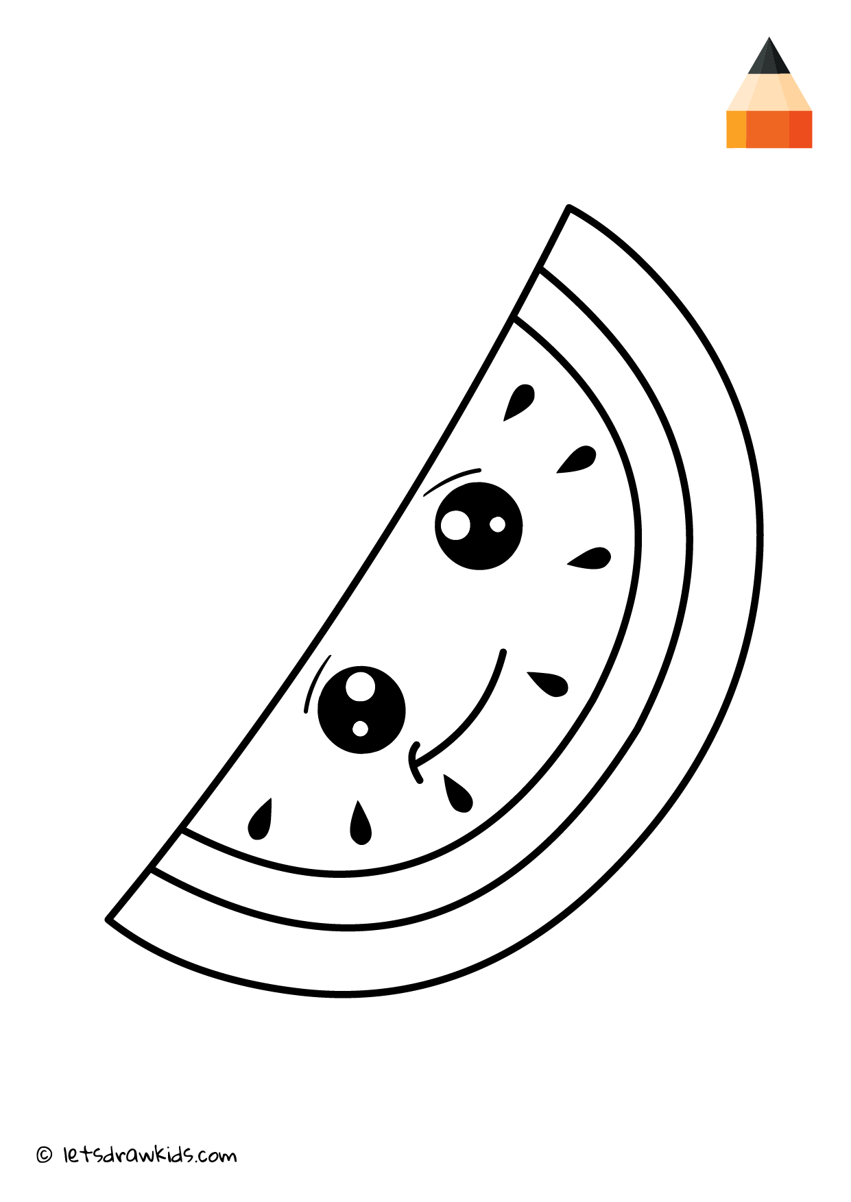 watermelon coloring image coloring page cute watermelon watermelon coloring image