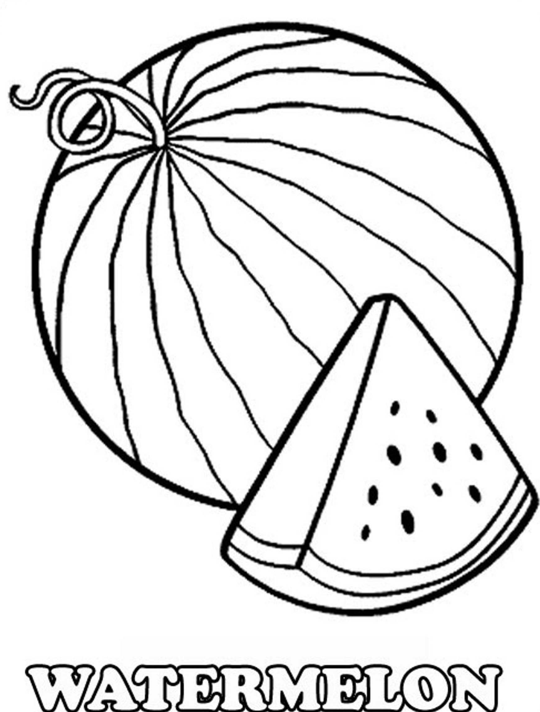 watermelon coloring image watermelon slice drawing at getdrawings free download watermelon coloring image