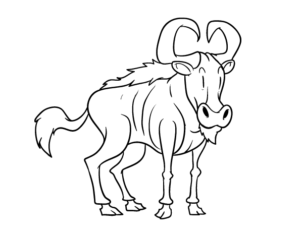 wildebeest coloring page cartoon wildebeest coloring page free printable coloring wildebeest coloring page