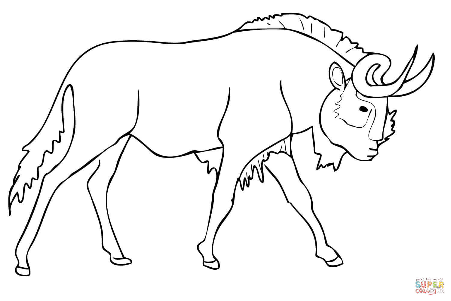 wildebeest coloring page realistic blue wildebeest coloring page free printable coloring wildebeest page