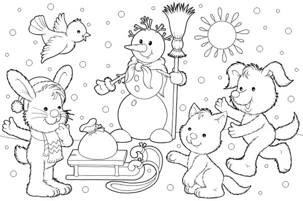 winter animal coloring sheets animals in winter printable worksheets sketch coloring page winter sheets animal coloring