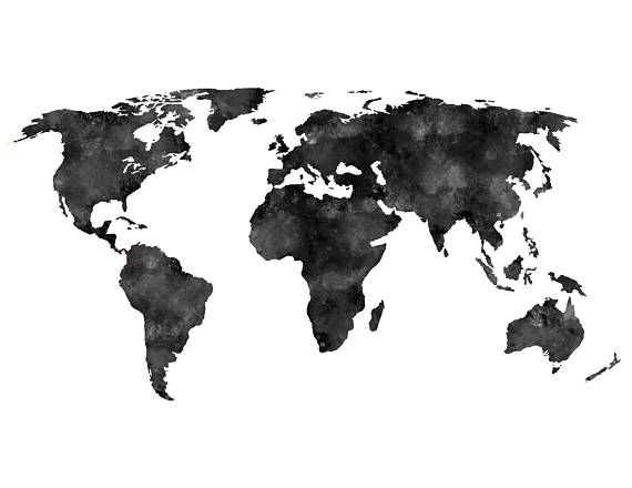 world map coloring poster black distressedwatercolored world map instant download poster map world coloring