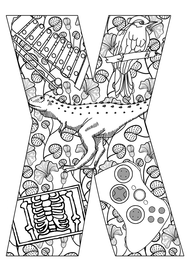 x coloring page xylophone coloring pages kidsuki coloring page x