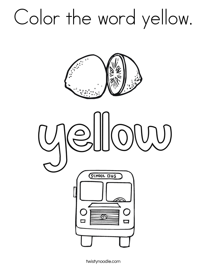 yellow coloring worksheets color the word yellow coloring page twisty noodle coloring worksheets yellow