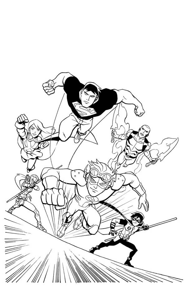 young justice colouring pages how to draw young justice league coloring page netart pages justice young colouring