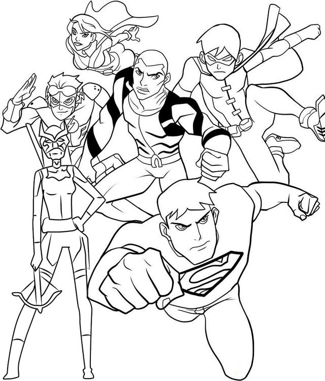 Young justice colouring pages
