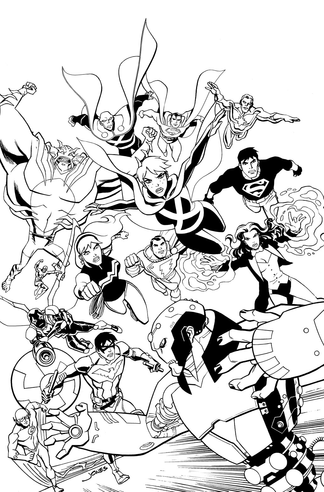 young justice colouring pages young justice superboy lines by dragonking65622 on deviantart pages colouring justice young