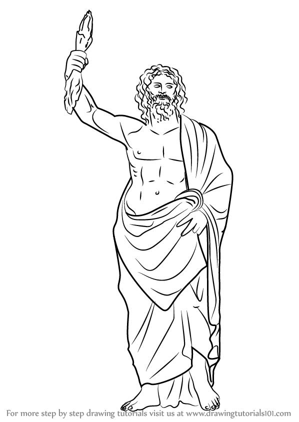 zeus drawing sketches of zeus greek god coloring pages drawing zeus