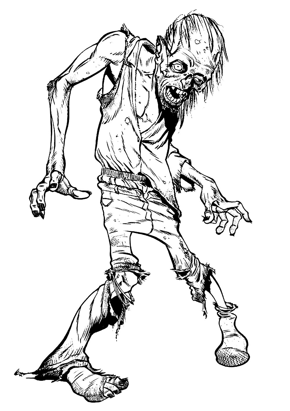 Zombie coloring page