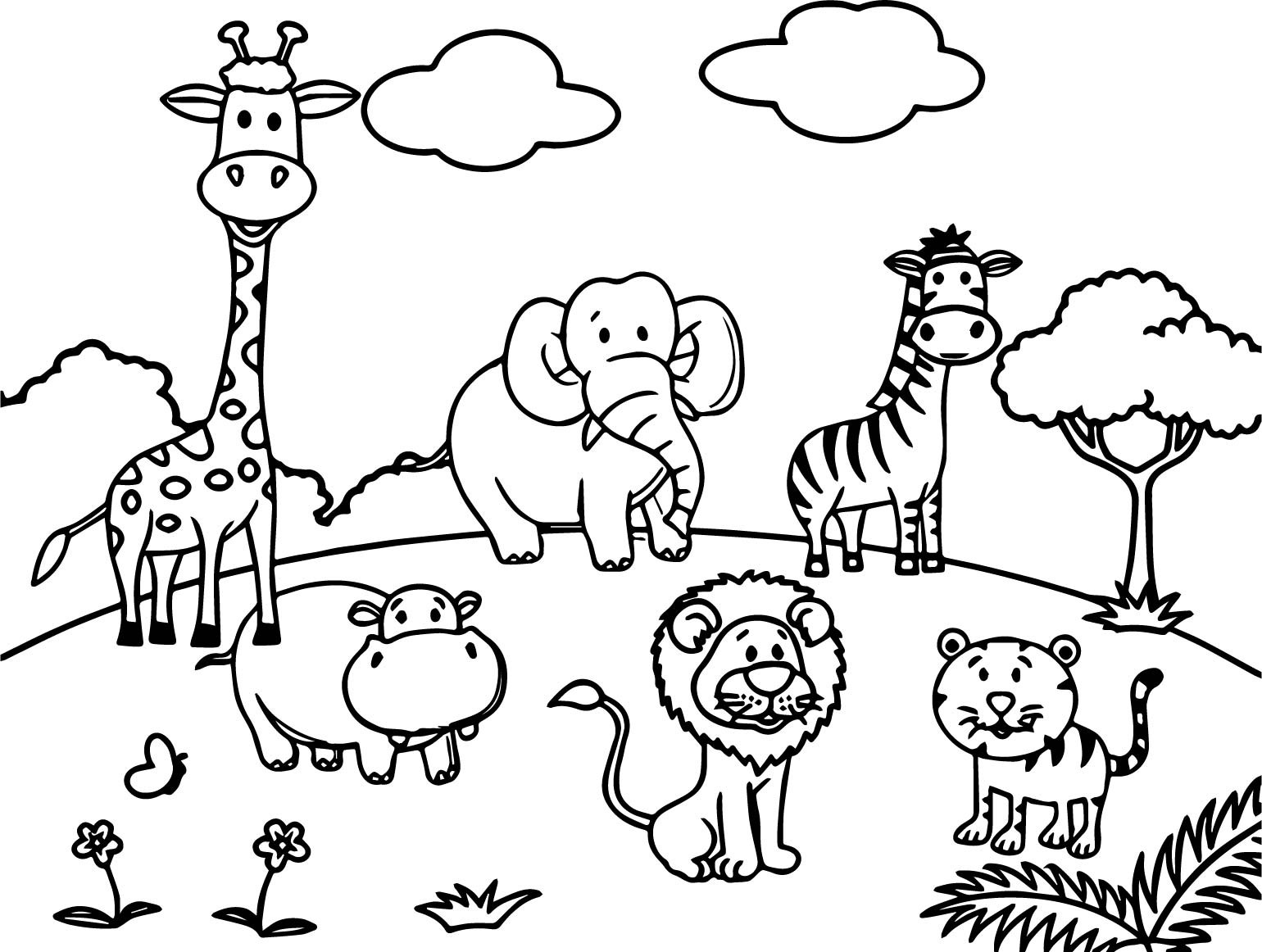 Zoo coloring picture