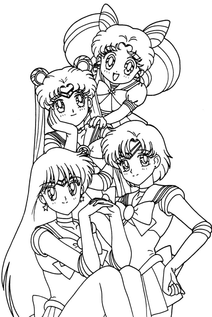 anime colour in anime girls group coloring page coloring home anime colour in