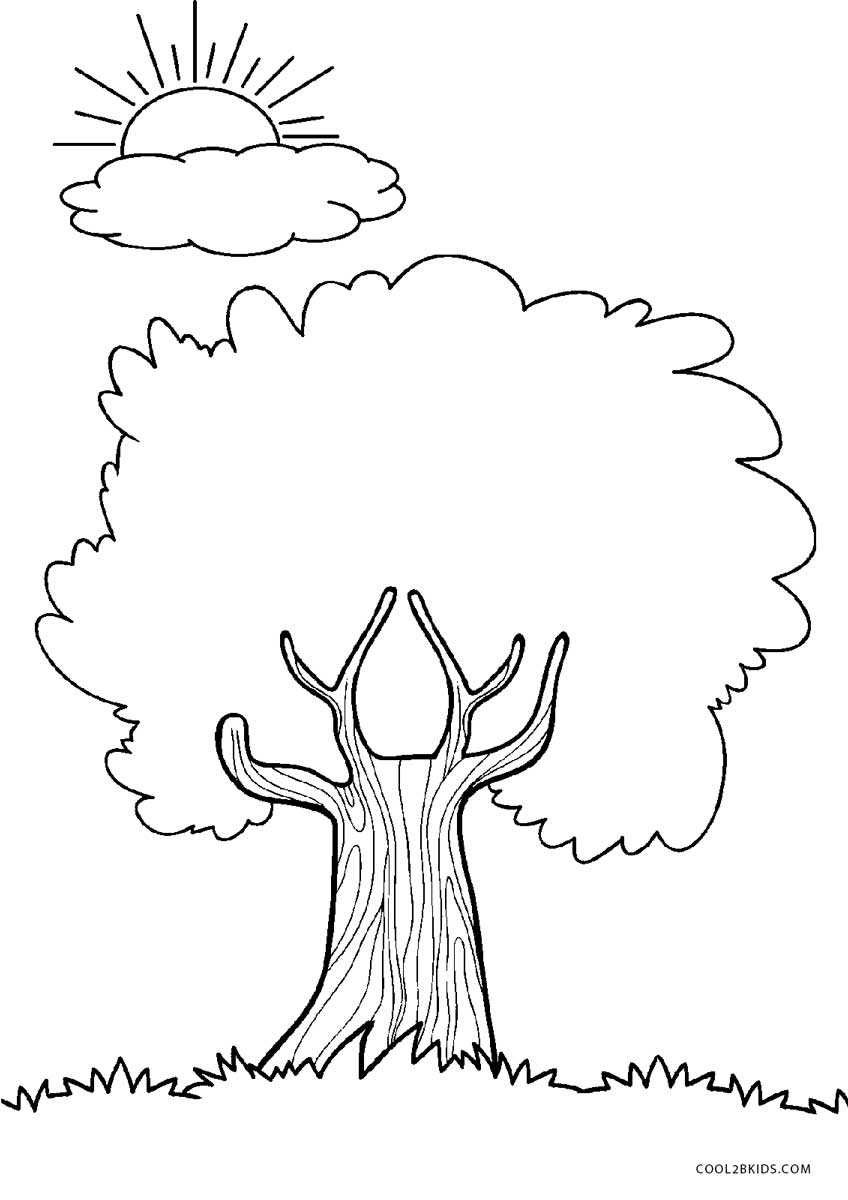 Coloring page of a tree