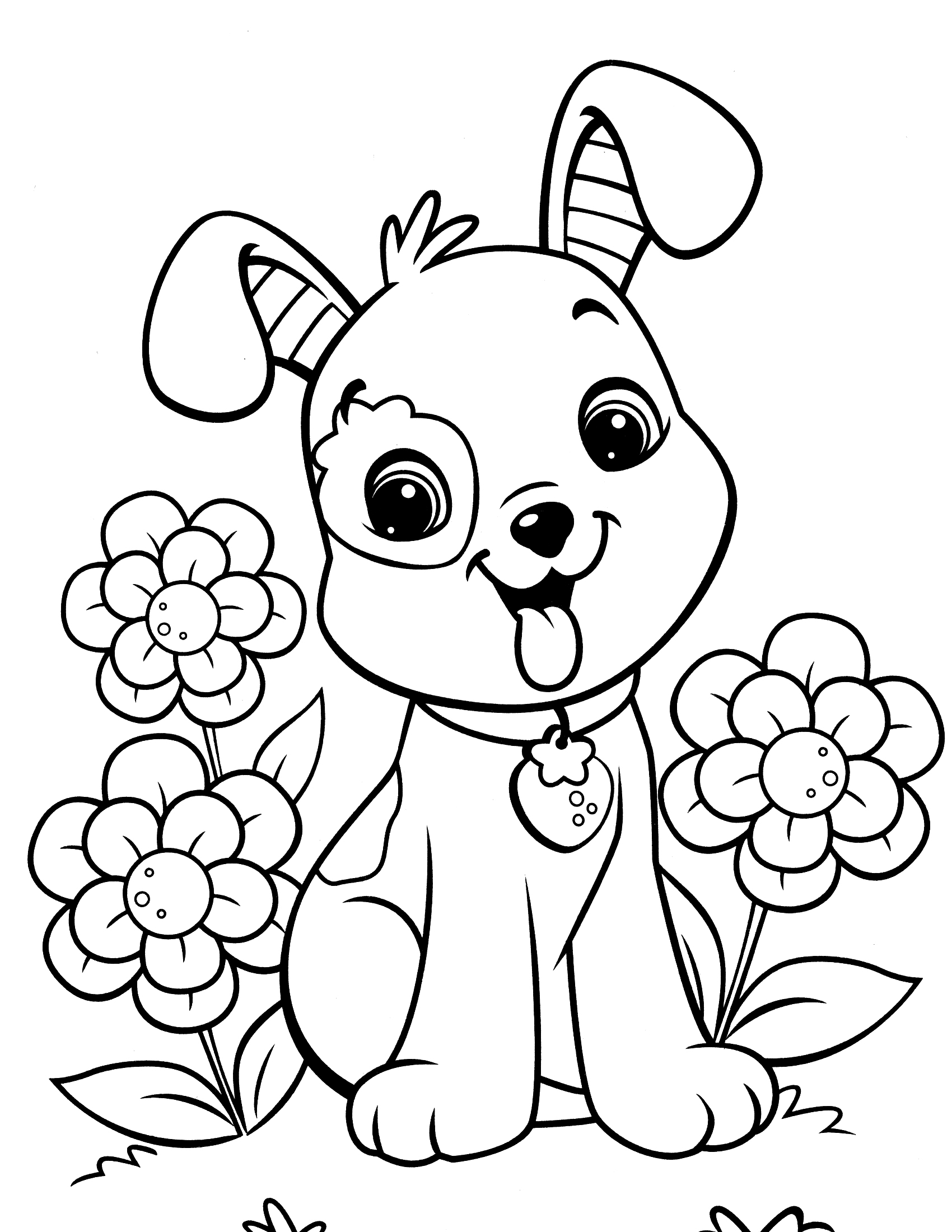 Colour in pictures of dogs
