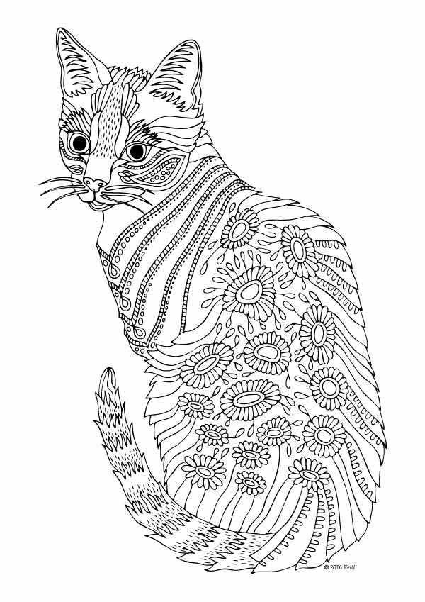hard cute cat coloring pages hard cat coloring pages at getdrawings free download cat pages cute coloring hard