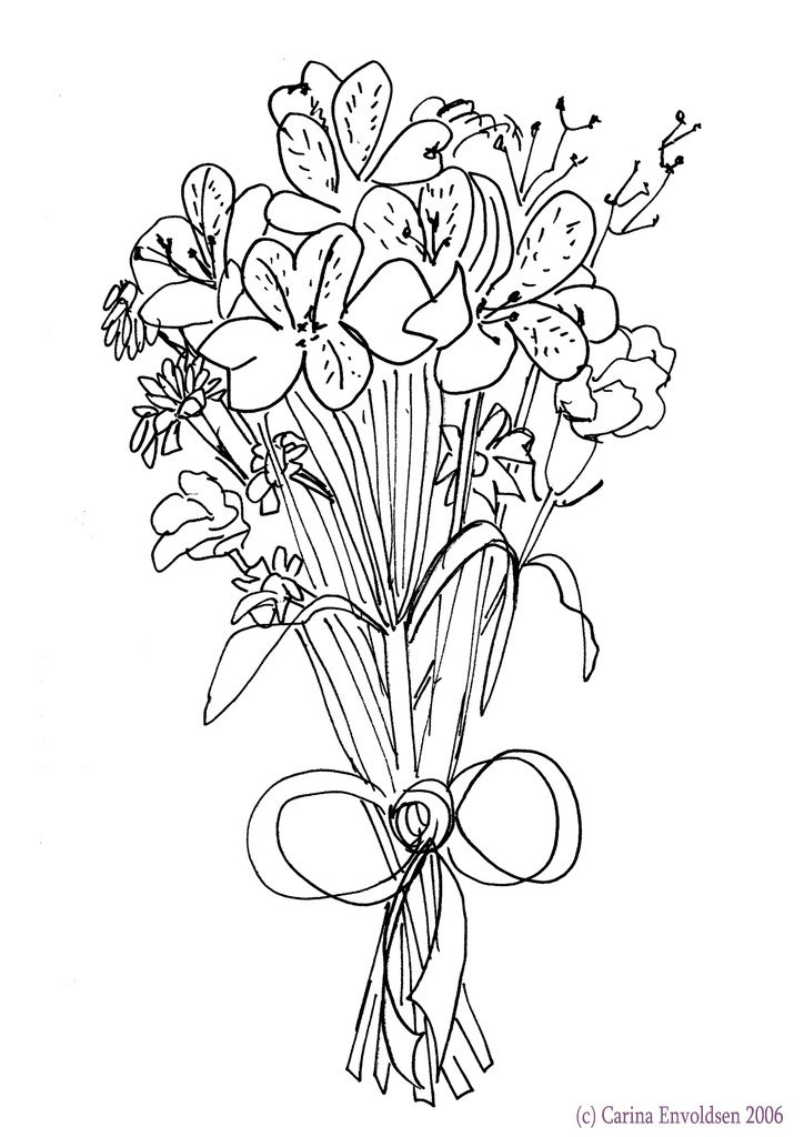 how to draw bouquet of flowers flower in a vase drawing at getdrawings free download bouquet how draw flowers of to