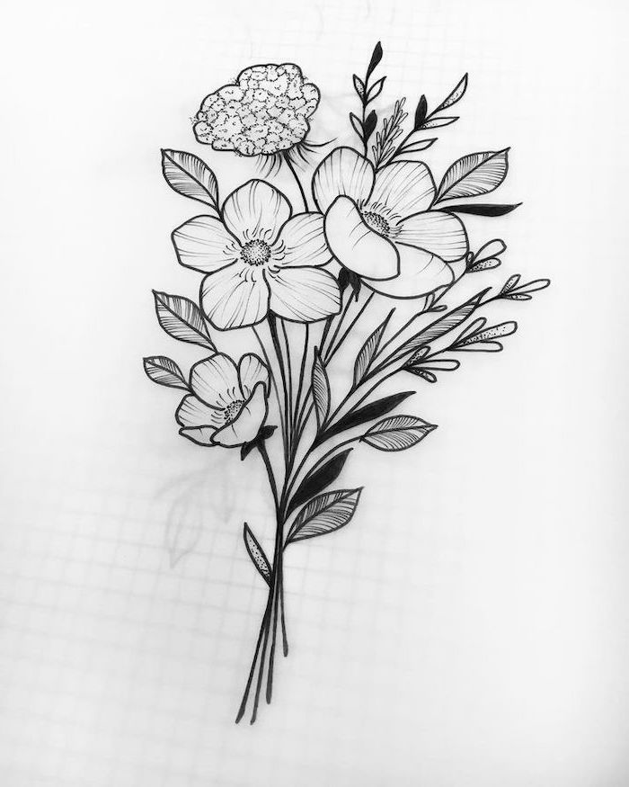 How to draw bouquet of flowers