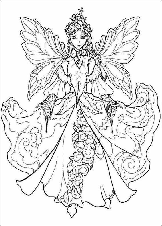 Realistic printable fairy coloring pages