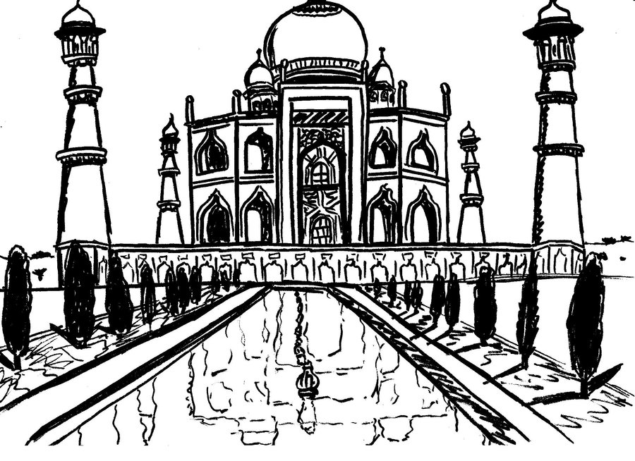 taj mahal outline sketch how to draw the taj mahal step by step drawing tutorials mahal sketch taj outline