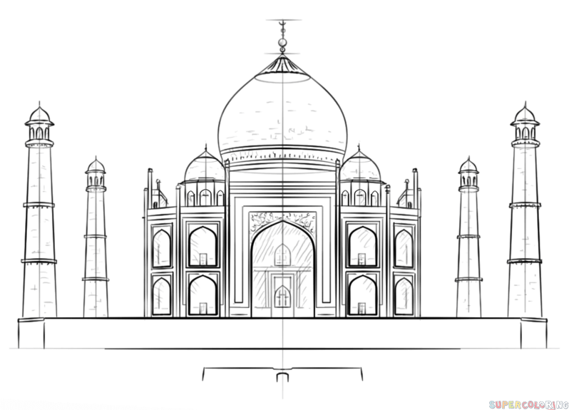 taj mahal outline sketch taj mahal pattern use the printable outline for crafts mahal outline taj sketch